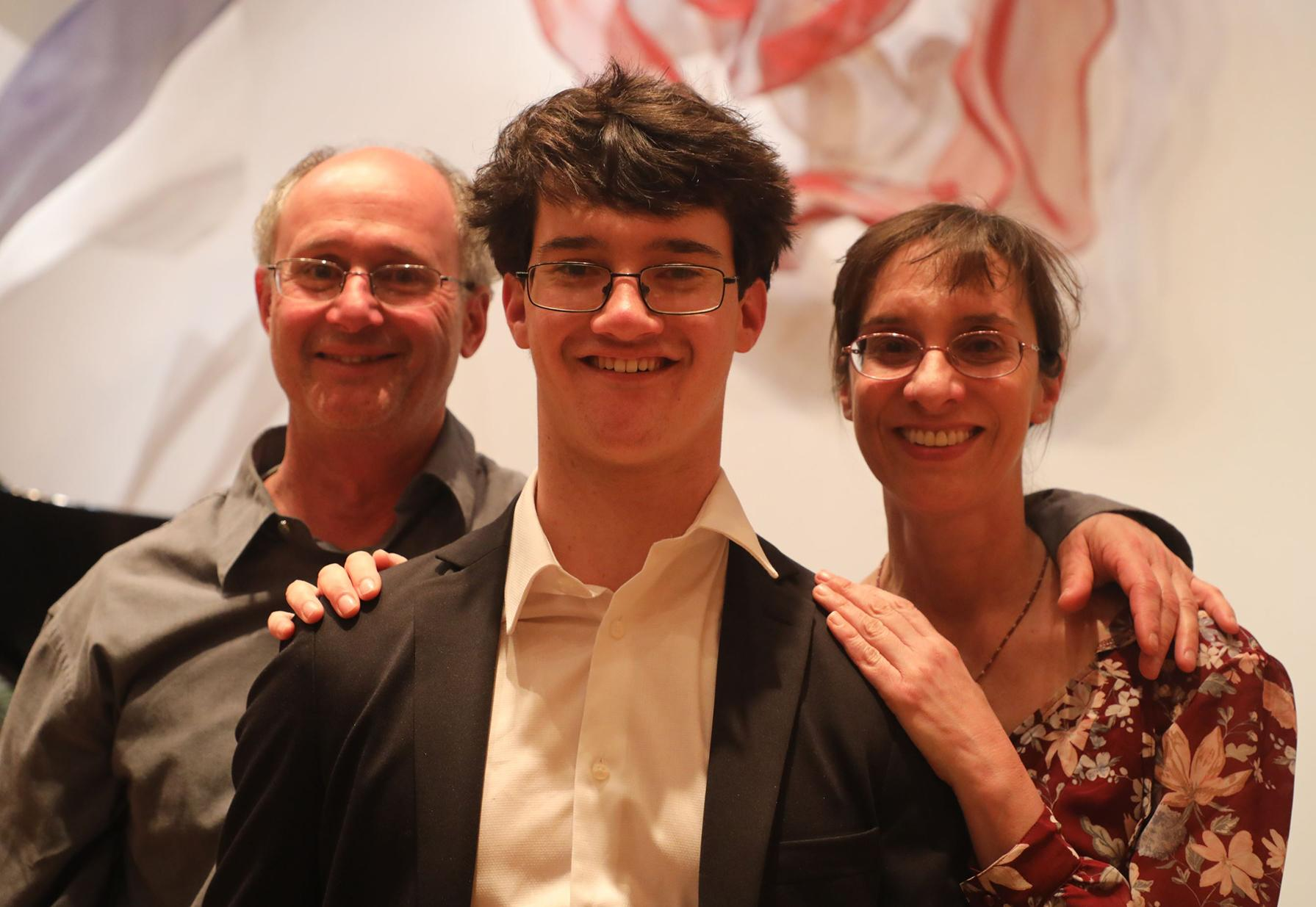 2019 Most Promising Piano student Josh Shevitz with his family